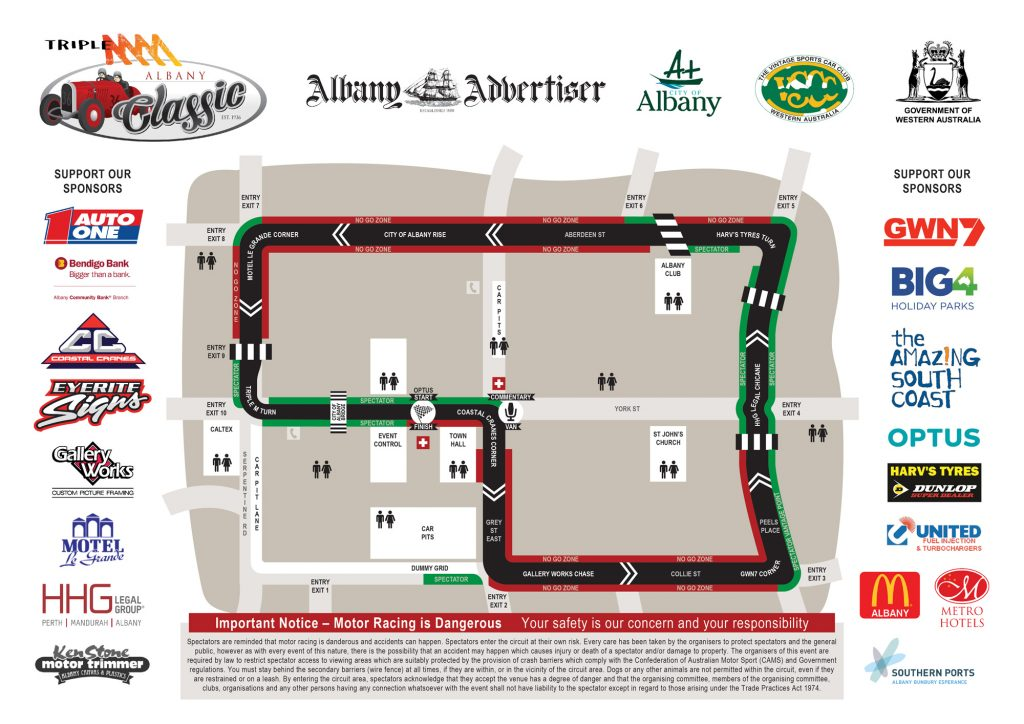 Albany Classic Race Track Circuit Map
